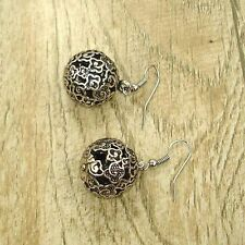 Vintage Tibet Silver Tone Earrings Tribal Ball Dangle Charm Lady Fashion Jewelry