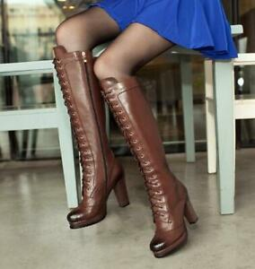 Womens Chic Leather Lace Up Platform Block Heel Knee High Riding Boots Shoes SKG