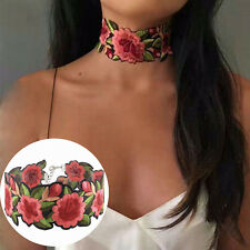 Women Retro Chic Bohemian Rose Flower Embroidery Choker Necklace Party Jewelry
