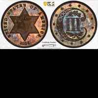 1864 PCGS PR65 Mintage 12,000 + 470 Proof CIVIL WAR KEY 3c Silver PQ! Three Cent