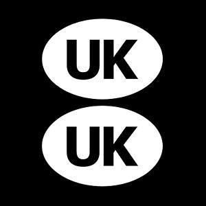 2x UK Oval Rear Car Sticker Euro Car, Van, Lorry, Vinyl, GB, Decal, France
