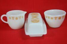 Corelle BUTTERFLY GOLD Butter Dish & Cream & Sugar Set Pyrex Milk Glass