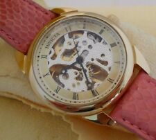 Mint INVICTA Womens Skeleton 17J Mechanical Watch Exhibition Glass Back+ Box