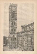 A1301 Firenze - Campanile di Giotto - Xilografia Antica del 1895 - Engraving