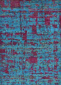 Modern Abstract Sari Silk Rug, 6'x8', Blue/Purple, Hand-Knotted Silk Pile