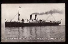 pacific coast steam ship governor before sunk in 1921 postcard
