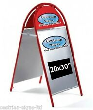 """New Booster Commercial Tubular Magnetic A-frame A-board 20x30"""" Sign RED FRAME"""