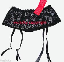 Deep Black Lace Suspender Belt with suspenders Size XL