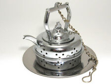 Brass chrome plated kettle shaped tea infuser with tray