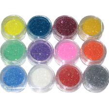 12x Glitterstaub Nailart Glitzer Pulver Partikel Set für UV Gel Nageldesign
