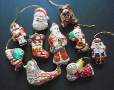 Lot of 10 Mini Handmade Stuffed Fabric Christmas Ornaments