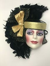 USA Made Lady Face Mask Hanging Wall Decor Feathers large fancy