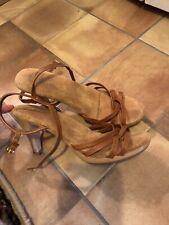 Sbicca True Vintage 6.5 Heels Brown Leather Shoes Ankle Strap 1970 Wood 7