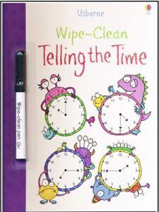 Usborne Wipe Clean Telling Time (Paperback & Pen) FREE shipping $35