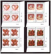 ZIMBABWE 2008 VALENTINES DAY SET SHEET NUMBER BLOCKS COMMON SG 1250 TO 1253