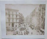 fine'800 NAPOLI VIA ROMA GIA' TOLEDO foto animata originale albumina 25x20 cm