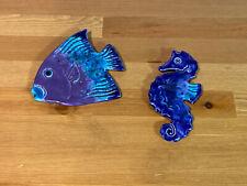 Ceramic Sea Fish Wall Decor Hanging Handmade Handpainted Handmade Tiles Signed