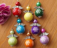 6 Mix Angel Charms Winter Christmas Round Snowflakes Beads Silver Wings