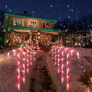 10 x Outdoor LED Red Candy Cane Path Patio Garden Lights Up Decoration Christmas