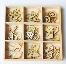 45-pc NAUTICAL Mini Laser Cut Wood Shapes 9 Styles Sea Life Shell Anchor 2015-05