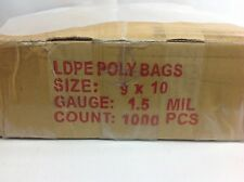 1000 1.5 Mil, 9x10 Clear Poly Bags Case Ldpe Flat Open End Plastic Baggies