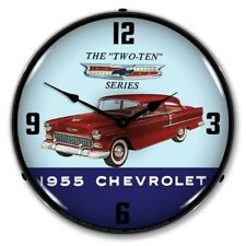 Retro Style 1955 Chevrolet Chevy Two Ten Led Lighted Man Cave Game Room Clock