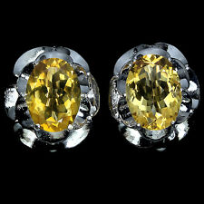 NATURAL OVAL 14x10mm RICH YELLOW CITRINE STERLING 925 SILVER SOLITAIRE EARRINGS