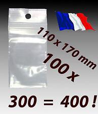 LOT 100 sachets pochette plastique zip 110x170 11x17 pochon 50 microns réel ! f