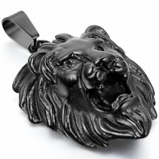Mens Stainless Steel Necklace Lion Head Pendant Black Gold Tone Necklaces 22""