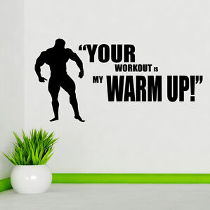 Your workout is my warmup wall sticker weightlifting quote gym fitness w136