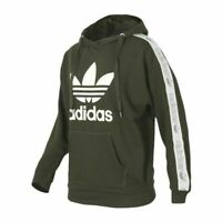 ADIDAS ORIGINALS TAPE WOMENS HOODIE SWEAT TOP PULLOVER CARGO GREEN SIZE.8