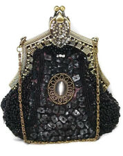 Victorian Style Evening Bag Black Fully Beaded Crystal Purse
