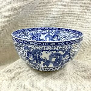 Adams Chinese Bird Large Bowl  Blue and White Pottery Rare Heal and Son 1920