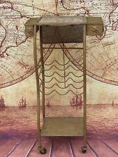 Vintage Metal Rolling Wine Bar Serving Cart w/ Marble Top & Grapevine Detailing