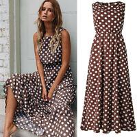 Ladies Polka Dot Sleeveless Long Maxi Dress Beach Summer Holiday Travel Sundress