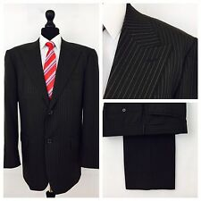 Taylor & Wright Mens Suit 46R W38 L29 Brown Pinstripe Formal Business (W80