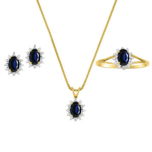 Sapphire & Diamond Pendant, Earrings & Ring in 14K Yellow Gold Plated silver