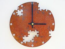 Small Industrial Clock / Metal Wall Art / Gift Guy Unique Home Decor / Puzzle IV