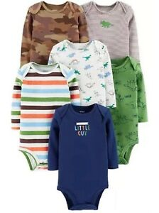 NWT's Carter's Boy 6 Pack Baby Basics Long Sleeve Bodysuits Dinosaurs 3 Months