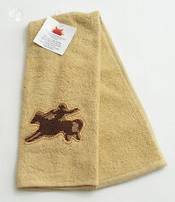 Western Cowboy on Bronco Terry Towel Embroidered Cotton 16x28in by RaaKha