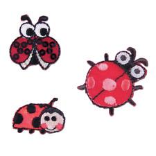 VAT Sewing Iron on Motif Craft Factory 3 Ladybugs Ladybirds 3 X 3 Cm