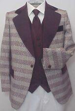 Vintage Maroon Silver Plaid Velvet Brocade 4pc Tux Tuxedo Prom Wedding Mens 40S