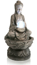 Buddha Crystal Ball Water Feature Fountain Cascade Antique Granite Effect Garden