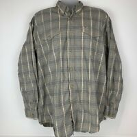 Roper Mens 2XL XXL Button Front Oxford Shirt Beige Plaid Long Sleeve 100% Cotton