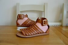 """CLARKS """"RENEE ICE"""" TAN LEATHER/LEATHER LINED CUSHIONED GLADIATOR SANDALS UK 7D"""