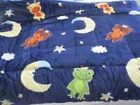 "NEW 2-ply Sherpa Baby blanket toddler Boys Girls 40""x50"" Plush MOON STARS"