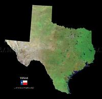MAP COUNTY SATELLITE USA STATE FLAG TEXAS OLD LARGE REPLICA POSTER PRINT PAM1395