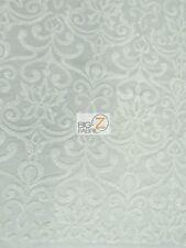 UNIQUE VINTAGE DAMASK SEQUINS FABRIC - White - BY THE YARD BRIDAL DRESS DECOR