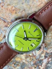 Vintage 1966 Bulova Automatic Watch, SPECIAL Green Dial, Keeping Time Very Well