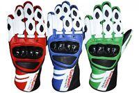 German Wear, Motorradhandschuhe Motorrad Biker Lederhandschuhe in der 3x Farben